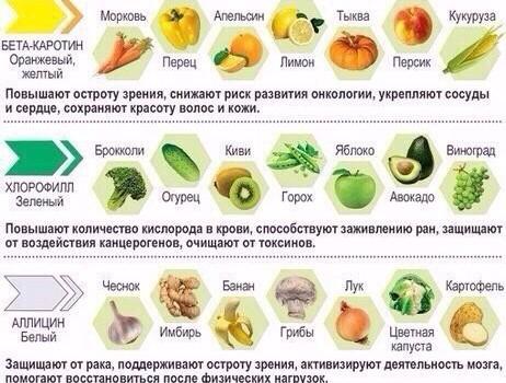 Цвет продуктов и их польза